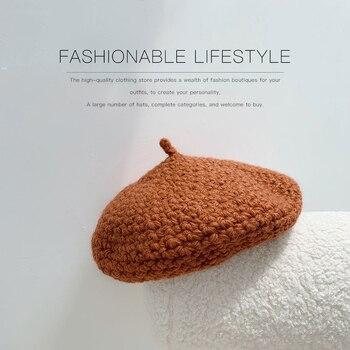 Hat women winter new style beret knitted wool painter hat autumn retro British Japanese Korean version