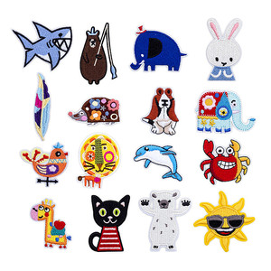 Cartoon Animals Clothing Patches Iron on Stripes for Shark Badges Stickers on Kids Clothes Embroidery Elephant Appliques @H(China)