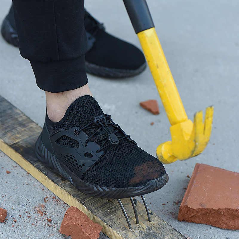 Giày Nam Thép Không Gỉ Mũi Với Đế 46 Phòng Chống Lũ Lụt Chống Đâm Xuyên Không Trượt An Ninh Giày