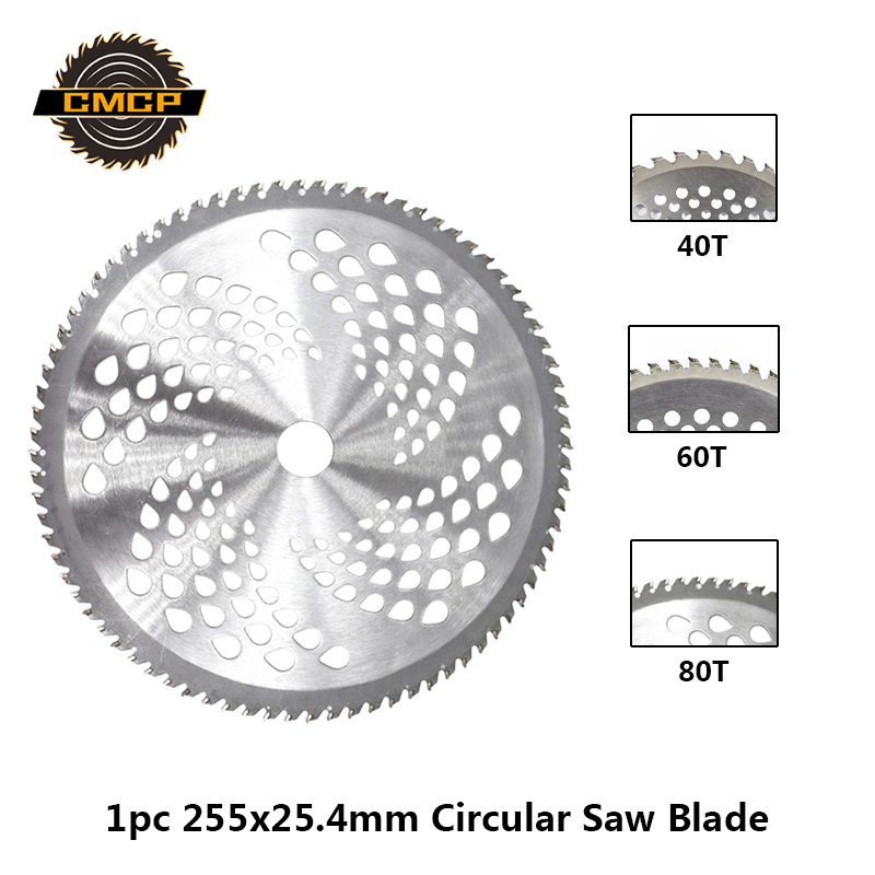 1pc 255mm 40T/60T/80T Brush Cutter Blade Lawn Mower Cutter Replacement Circular Saw Blade For Cutting Grass,Tree Trimmer Blade