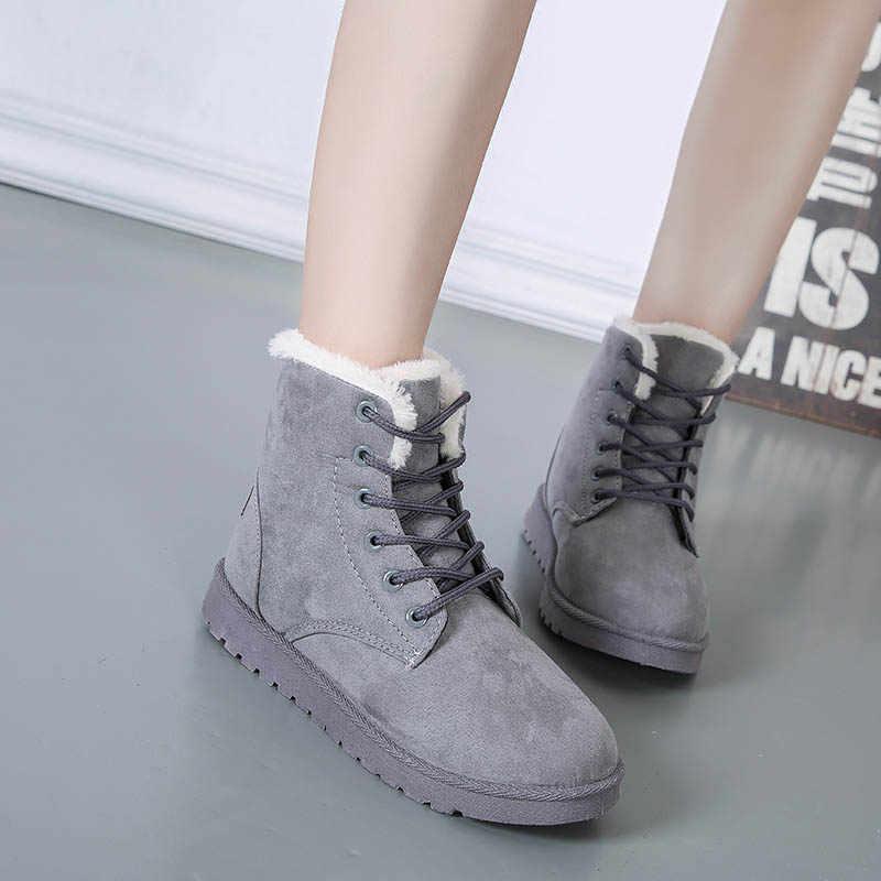 Botas de invierno de piel de ante de imitación botas de piel de felpa negro gris rojo zapatos de mujer mantener caliente botas de nieve de plataforma de moda tobillo botas 2019