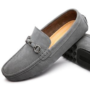 Image 4 - 2020 جديد الشباب حذاء بدون كعب حذاء ماركة حذاء رجالي المتسكعون اليدوية الانزلاق على المضادة للانزلاق أحذية رياضية جلد الذكور المشي سائق حذاء