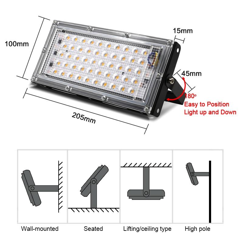 LED Grow Light Phyto Lamp AC 220V 50W LED Full Spectrum Floodlight Indoor Outdoor Greenhouse Plant Hydroponic Plant Spotlight 2
