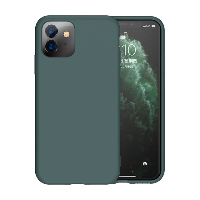 Мягкий Жидкий официальный силиконовый чехол для iPhone 11 Pro Max 8 Plus из микрофибры, Противоударная задняя крышка для iPhone X XR Xs MAX XS - Цвет: Midnight Green