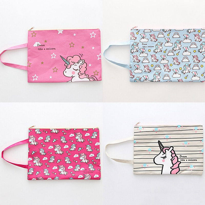 Bag School-Bag Oxford-Cloth Colorful Unicorn Filing-Products Pouch File-Folder Document