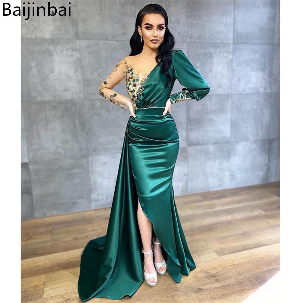 Baijinbai Evening Dresses Long Sleeves Satin Sukienka Wieczorowa Formal Dress Embroidery Beading Prom Gowns Slit Sweep Train