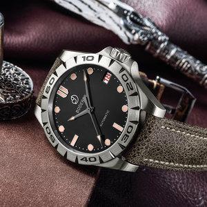 Image 4 - טיטניום מקרה 2020 יוקרה גברים שעונים של אוטומטי מכאני עמיד למים לוח שנה תאריך זוהר שעון שעון גברים Relogio Masculino