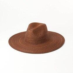Chapeau de paille super fin pour femmes   Chapeau de plage naturel, voyage ombrage de soleil, UV jazz, chapeaux de plage, brme de 13cm extérieur