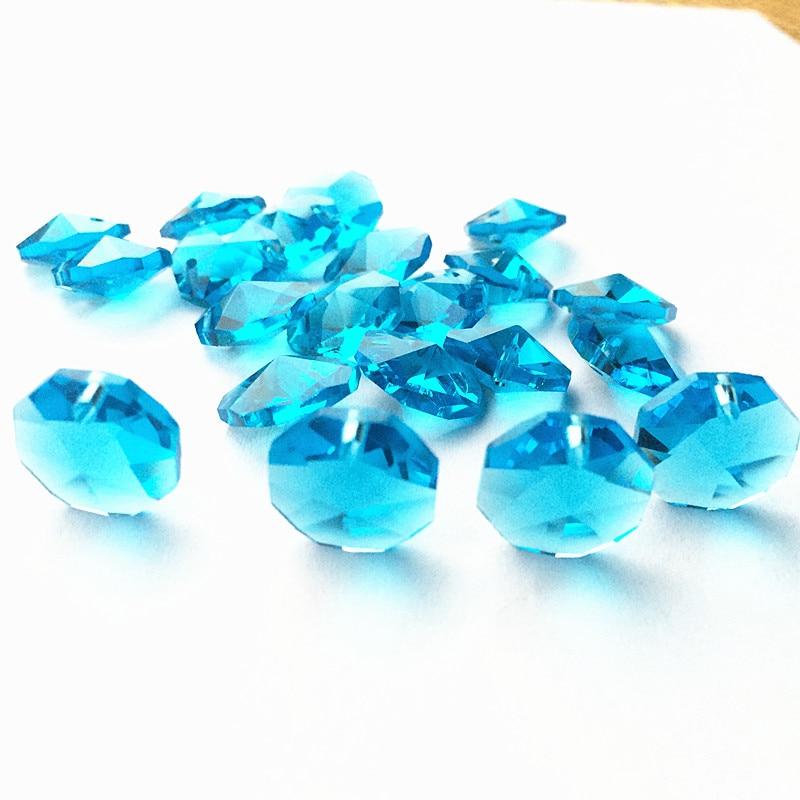 Высокое качество 20 шт./лот многоцветный 14 мм хрустальные Восьмиугольные бусины в одном отверстии K9 кристаллы части для люстры аксессуары DIY Свадебные и x-дерево украшения - Цвет: Aqua