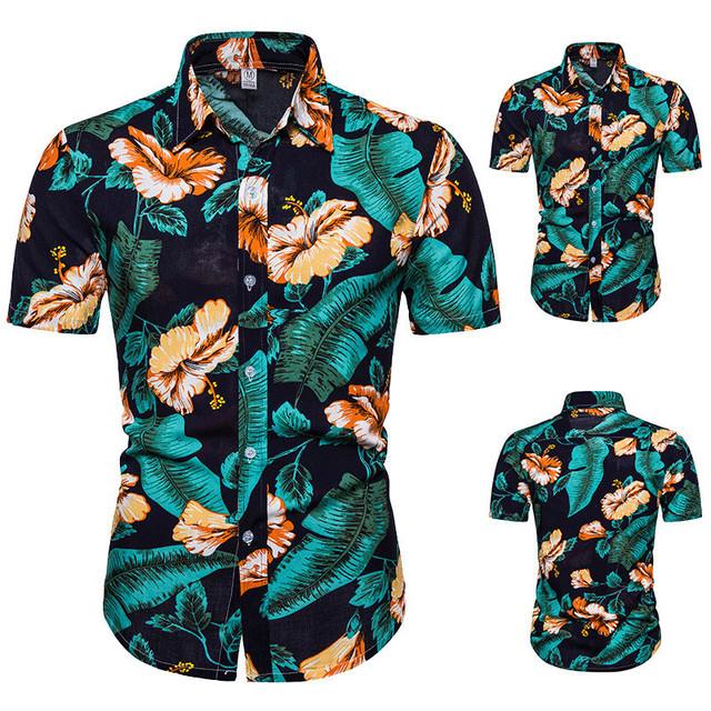 2020 wiosenny i letni handel zagraniczny nowa męska koszulka plażowa z krótkim rękawem męska Slim casual kod europejski kardigan tanie i dobre opinie Poliester Pasuje prawda na wymiar weź swój normalny rozmiar