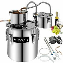 VEVOR 12/21/38L DIY Moonshine Still Alcohol Distiller Copper With Circulating Pump Water Wine Brandy Essential Oil Brewing Kit