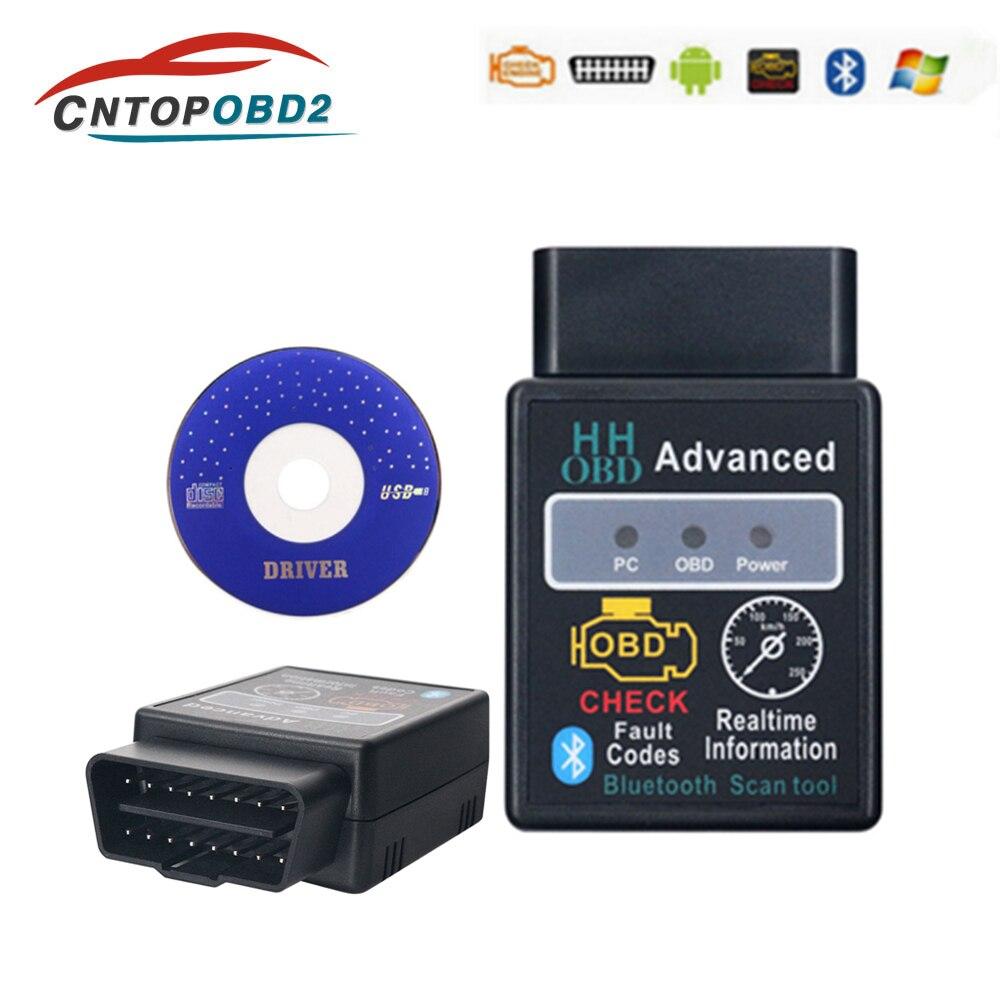 Neueste HH OBD2 ELM327 Bluetooth V1.5 OBDII Auto Motor Überprüfen Auto Diagnose Scanner Tool Adapter Für Android PC Code Reader