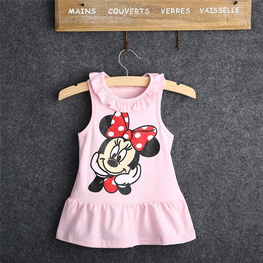 Vestido da menina do bebê 2020 verão 100% algodão topos sem mangas vestido dos desenhos animados moda vestido do bebê dos desenhos animados topos dressd 2