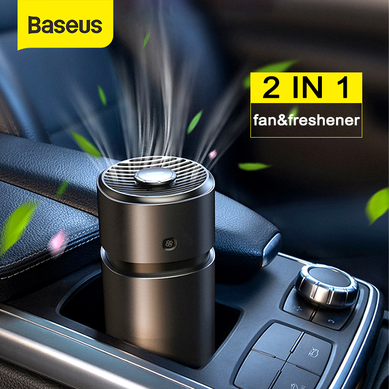 Baseus Car Perfume Air Freshener 2 in 1 <font><b>Fan</b></font> With Formaldehyde Purifier For Auto Freshner Aromatherapy Accessories Car Diffuser image