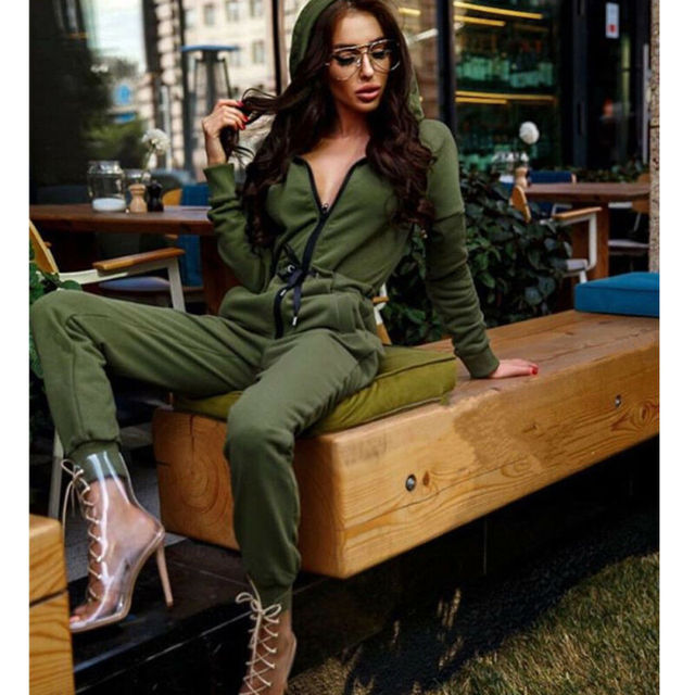 Autumn New Fashion Women Casual Hooded Zipper Jumpsuit Female Solid Color Long Sleeve Streetwear Drawstring Jogging Tracksuit