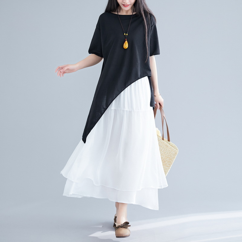 Photo Shoot 2019 Summer New Style Hem Irregular Tops Cotton Real Silk Joint Skirt Set