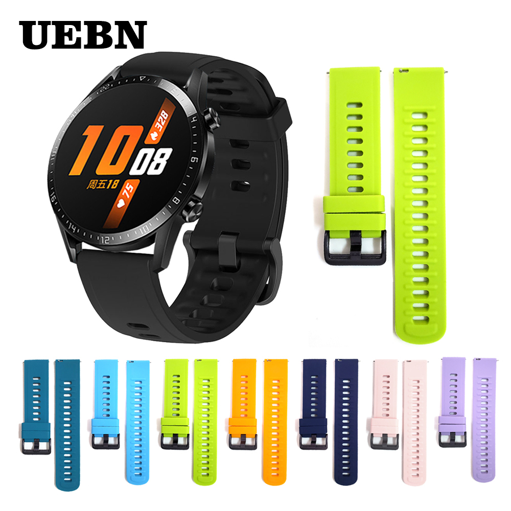 UEBN 20mm 22mm Silicone For HUAWEI WATCH GT 2 42mm 46mm Wrist Strap For HONOR Magic/GT2 Sport/Classic/Elite Edition Watchband