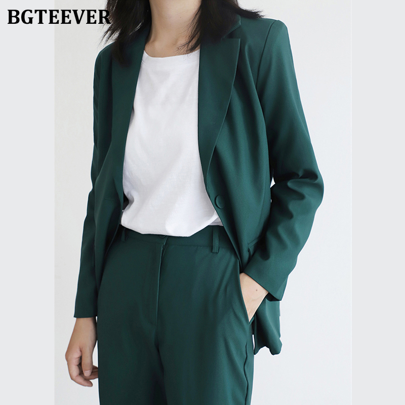 BGTEEVER Vintage Green Women Blazer Suits Long Sleeve One Button Blazer Pants Suit Office Ladies 2 Piece Blazer Sets Femme 2020