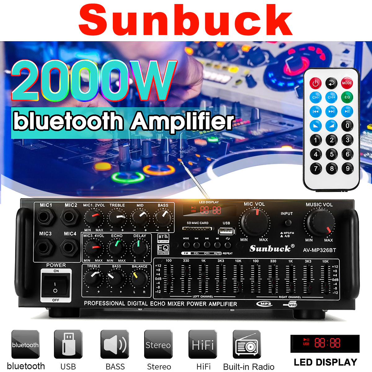 2000W 110V/220V 2channel Bluetooth Home Stereo Power Audio Amplifier Audio USB SD Remote Amplifiers Subwoofer Amplifier