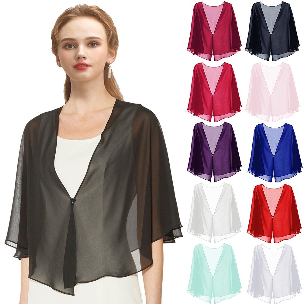 Women Black Evening Dress Chiffon Bolero Prom Party V-neck With Button Shrug Elegant Simple Soft Casual Cape For Lady Red White