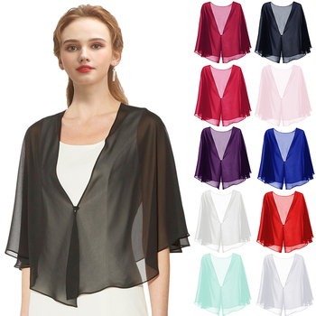Women Black Evening Dress Chiffon Stole Prom Party V-neck with Button Shrug Elegant Simple Soft Casual Bolero for Lady 11 Colors
