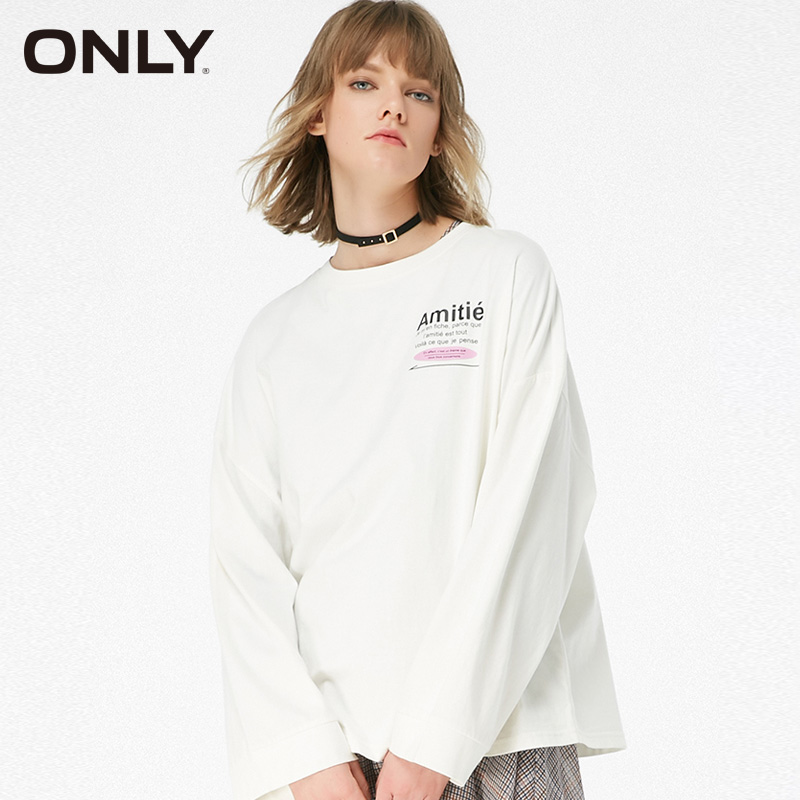 ONLY Autumn Women  Letter Loose BF Style Long Sleeve T-shirt | 119102512