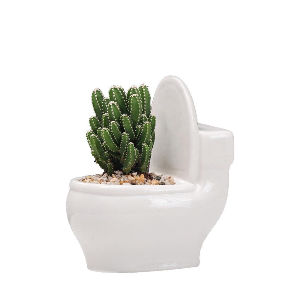 Cute Succulent Planter Flower Pot Painting Art Vase Plant Pot Planter Funny Mini Toilet Pots Garden Supplies Dropshiping #LR3