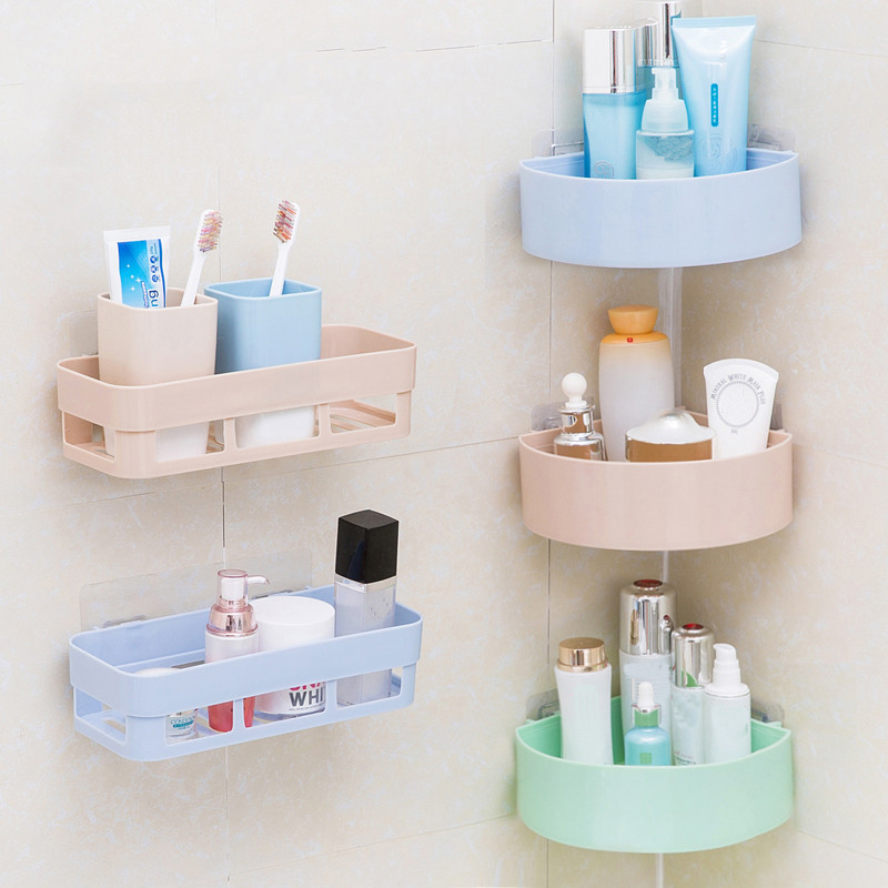 Bathroom Shelf Shampoo Holder Toothpaste Toothbrush Space Corner Sucker Bathroom Storage Rack Kitchen Sucker Organizer