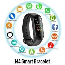 M4 banda inteligente pulseira bluetooth esporte relógio inteligente banda tela colorida à prova dwaterproof água freqüência cardíaca de fitness para pedômetros masculinos e femininos
