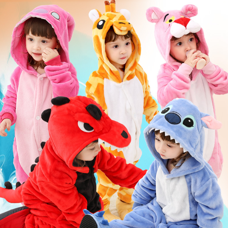 Kids Kigurumi Onesie Children Animal Pajamas Costume Fancy Soft Anime Cosplay Onepiece Boy Girls Winter Jumpsuit