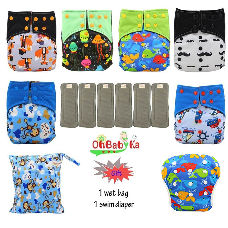 Image 1 - OhBabyKa Washable Baby Cloth Diaper Bamboo Charcoal Reusable All in two Pocket Diaper Adjustable+6pcs Bamboo Insert Baby Nappies-in Baby Nappies from Mother & Kids