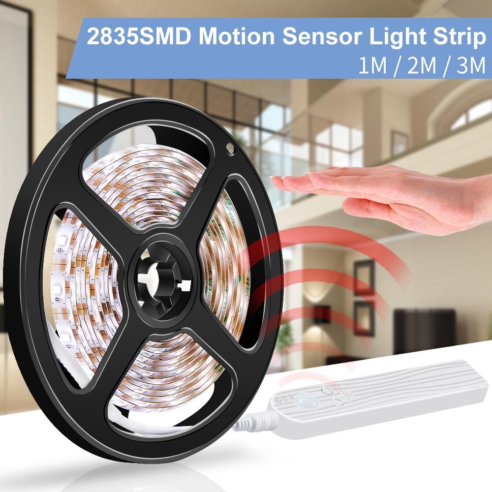 5V usb'li şerit Led ışık Led hareket sensörlü lamba şerit Led 220V esnek aydınlatma şeridi ab abd Plug Cocina yatak odası gece işıkları 110V