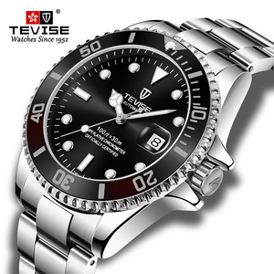 Fashion Brand TEVISE Men Stailness steel Band Automatic Mechanical Watch Fashion Calendar Display Business Mens Watches(China)