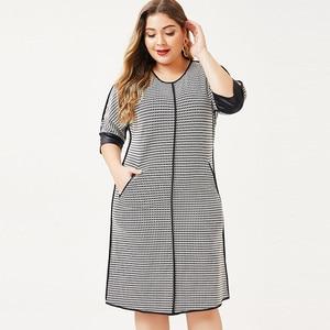 Image 5 - 2020 herbst frauen Plus Größe kleid Houndstooth mode Damen femal elegante kleider frau party nacht 4XL 5XL 6XL