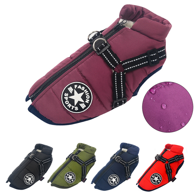 Large Pet Dog Jacket With Harness Winter Warm Dog Clothes For Labrador Waterproof Big Dog Coat Chihuahua French Bulldog Outfits- 1