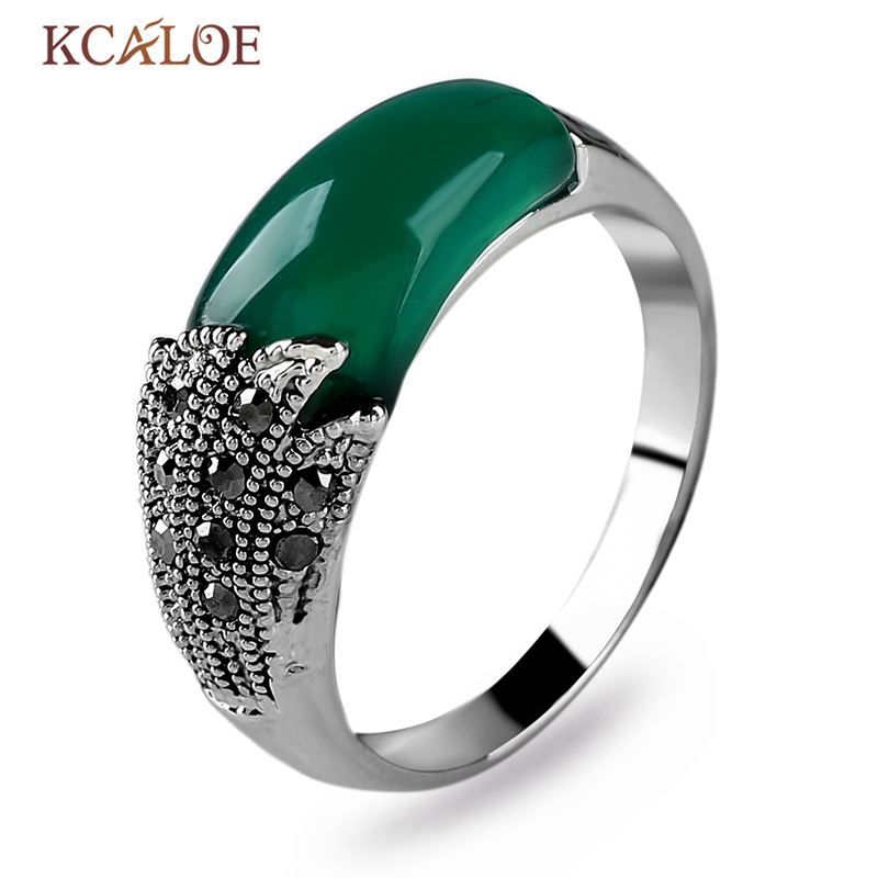 KCALOE Black Women Stone Rings Vintage Retro Jewellery Antique Silver Silver Color Crystal Rhinestone Zonja Zonja
