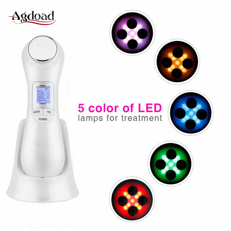 6 In 1 RF EMS Mesotherapy Skin Tightening Device LED Light Therapy Radio Frequency Vibration Facial Massage Anti Aging Skin Lift