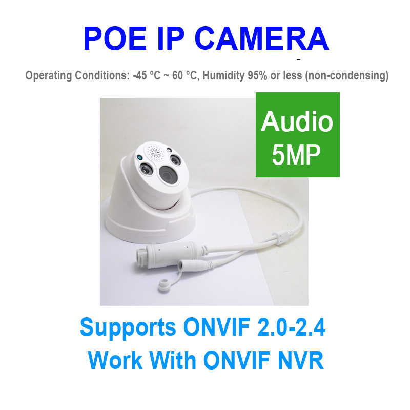 Jienuo 5MP Poe Camera Ip Twee-weg Voice Ipc Bewaking Hd Video Auido Ipcam Nachtzicht Infrarood Cctv poe Thuis Camera