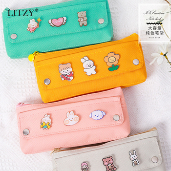 LITZY Kawaii Pencil Case with Animal Brooch Pencil Bag Cute Canvas Pen Pouch for Student Pen Box School Office Stationery Supply j26 kawaii cute moomin canvas pen bag pencil holder storage case school supply birthday gift cosmetic makeup travel