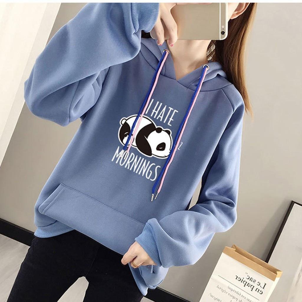 Women Panda Print Hoodies Sweatshirt Casual Female Loose Long Sleeve Hooded Sweatshirt Elegent Kroean Oversize Hoodie Pullover#B
