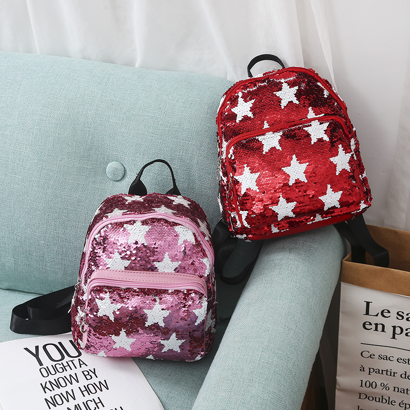 New Women Sequins Backpack Portable Cute Star Double Shoulder Bag Mini Children Girl Sequined School Bags Travel Backpack