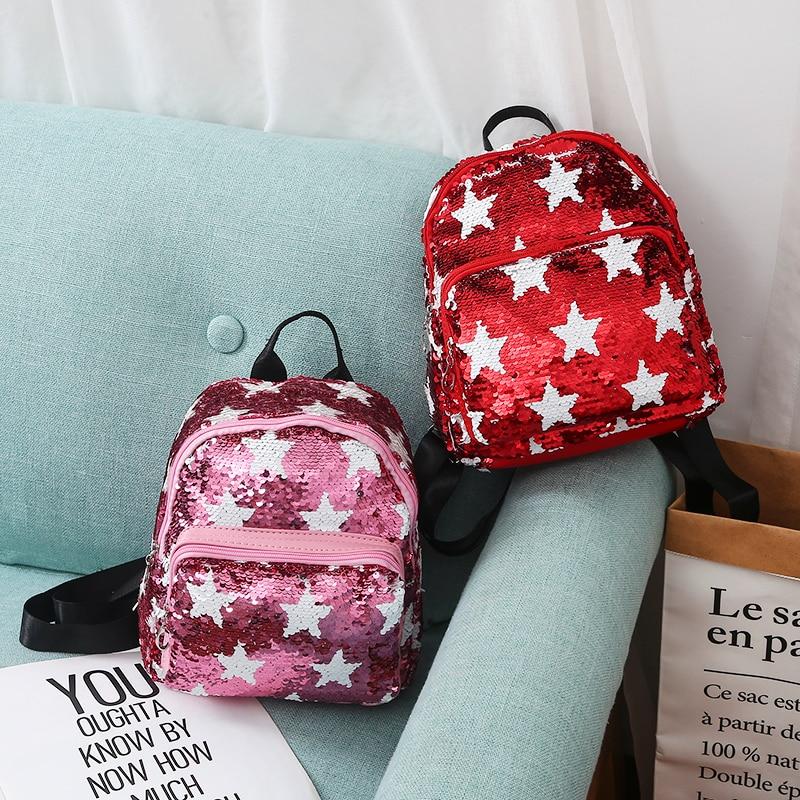 New Women Sequins Backpack Portable Cute Star Double Shoulder Bag Mini Children Girl Sequined School Bags Travel Backpack