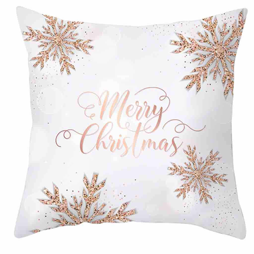 Christmas Decorative Pillowcases Polyester Merry Christmas Print Pillow Case Sofa Waist Throw Cushion Cover  Pillowcase 19OCT22