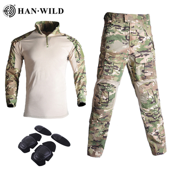 Military Uniform Clothes Suit Tactical Camouflage Men US Army Clothes  Airsoft Military Combat Shirt + Cargo Pants Knee Pads G3 bdu tactical camouflage military uniform clothes suit men us army clothes airsoft military combat shirt cargo pants