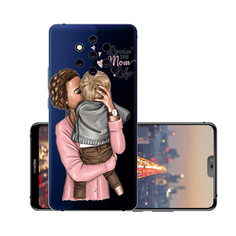 סופר אמא תינוק צבוע רך מקרה עבור Nokia 9 8 7 6 5 3 2 1X6 2018 2.1 3.1 5.1 7.1 בתוספת 3310 2017 ברור כיסוי סיליקון Coque קאפה