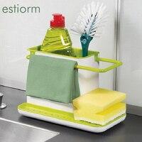 Repisa de drenaje para almacenamiento de cocina, organizador para fregadero de cocina creativo, soporte/estante para jabón y esponja, accesorios de cocina