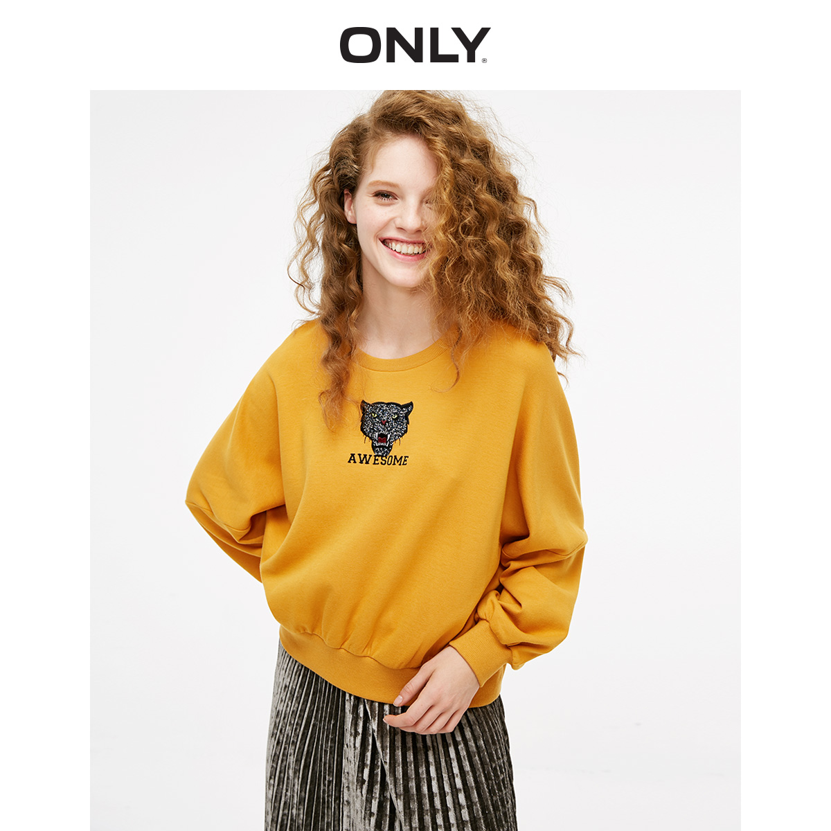 ONLY Women's Pure Color Round Neckline Embroidered Tiger Head Batwing Sleeves Sweatshirt | 11919S514