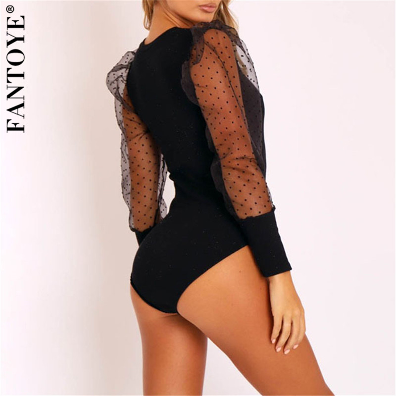 He37e3a1f45944e618afeb1fdc17c1d43W - FANTOYE New Lace Puff Sleeve Women's Bodysuit Autumn Long Sleeve Polka Dot Vintage Bodycon Jumpsuit Tops Skinny Mesh Bodysuits