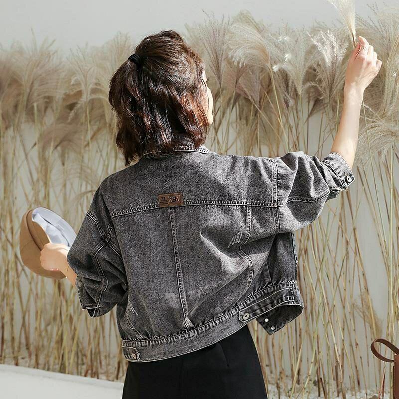 Gray Loose Short Denim Jacket 2020 New Spring Autumn Long Sleeve Holes Women Jean Jacket Fashionable Women Coats Outerwear