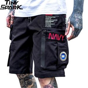 Image 1 - Hommes Hip Hop court Joggers Streetwear 2019 Harajuku Cargo Shorts fermeture éclair poches été noir tatique militaire Baggy Short Hipster